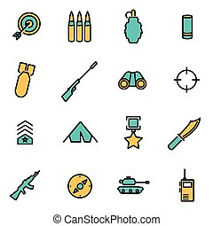 Trendy flat line icon pack for designers and developers. Vector line military set