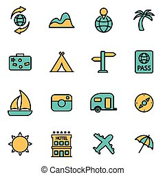 Trendy flat line icon pack for designers and developers. Vector line travel icon set