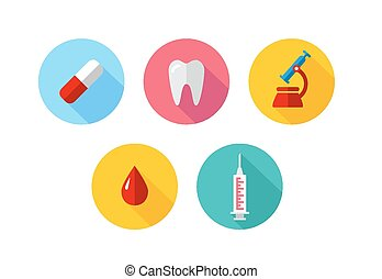 Trendy Flat science icons. Vector illustration. Medical icons set