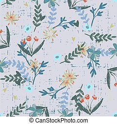 Trendy Floral pattern in the many kind of flowers botanical Motifs scattered random. Seamless vector texture. For fashion prints. Printing with in hand drawn style grunge grey background.