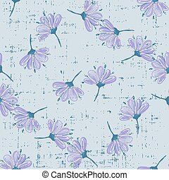 Trendy Floral pattern with abstract flowers botanical Motifs scattered random. Seamless vector texture. For fashion prints. Printing with in hand drawn style grunge grey background.