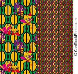Trendy floral seamless pattern for wallpaper or fabric. Lilies, phlox and graphic ornament. Complementary kit, combination of patterns