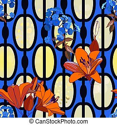 Trendy floral seamless pattern for wallpaper or fabric. Lilies, phlox and graphic ornament.