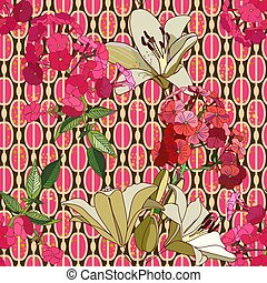 Trendy floral seamless pattern in vintage style for wallpaper or fabric. Lilies, phlox and graphic ornament. Complementary kit, a combination of patterns. Style sixties