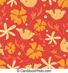 Trendy floral seamless pattern with doodle flowers. Vector background design.