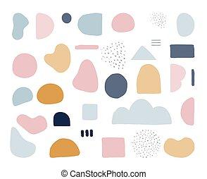 trendy, forme, nordisk, pastel, moderne, konstruktion, vektor, colors., abstrakt, rense