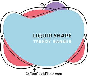 Trendy fractal design. Abstract colorful waves. Modern vector memphis liquid shape. Mosaic amoeba design
