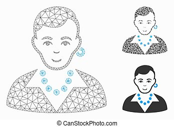 Trendy Gay Vector Mesh Network Model and Triangle Mosaic Icon