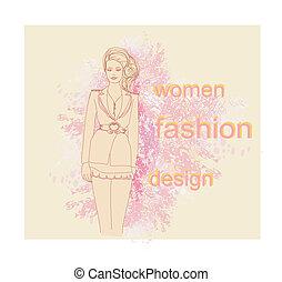 trendy girl in a short dress