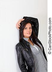 Trendy girl on white background