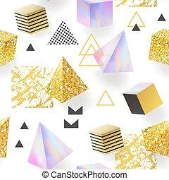 Trendy Golden Glitter Memphis Seamless Pattern. Shiny Background with Geometric Elements. Glamour Fashion Fabric Design for Textile, Poster, Print. Vector illustration