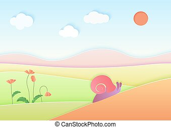 Trendy gradient color cuted paper summer landscape background with cute snail vector illustration.