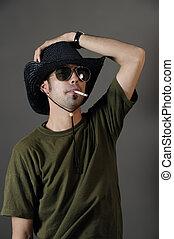 Trendy guy smoking