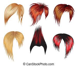 trendy, hår stiliser