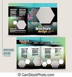 trendy half-fold template design with hexagon geometric elements