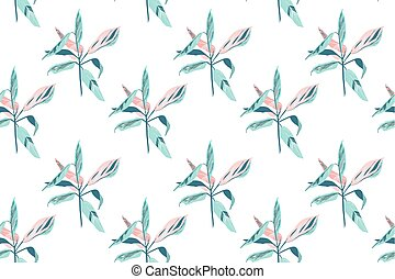 trendy hand drawing seamless leaf pattern, tropical leaves...