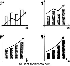 Trendy hand-drawn bar graph