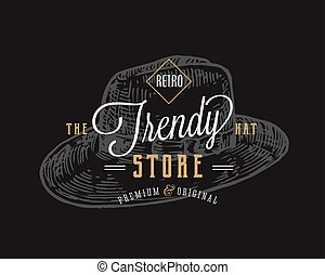Trendy Hat Store Retro Typography Abstract Vector Sign, Symbol or Logo Template. Hand Drawn Vintage Hat Emblem. Black Background