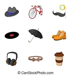 Trendy hipsters icons set, flat style