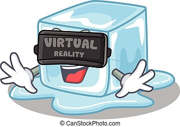 Trendy ice cube character wearing Virtual reality headset