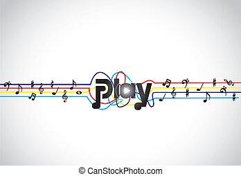 trendy, incomum, conceito, música, jogo