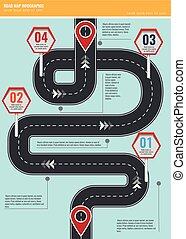Trendy infographic template with road map using pointers and arrows.