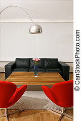 New and trendy living room with modern furniture