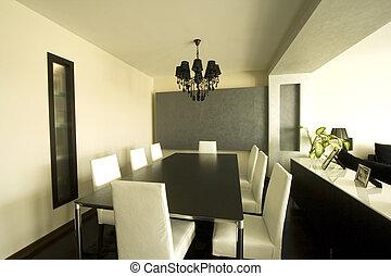 trendy, jantar, quarto moderno