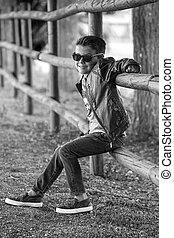 Trendy kid posing confidently