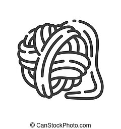 trendy line style icon about sewing toys - ball of yarn