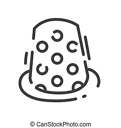 trendy line style icon about sewing toys - sewing thimble