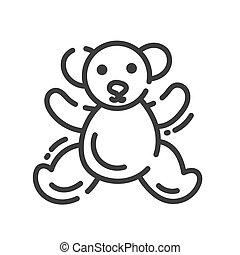 trendy line style icon about sewing toys - teddy bear
