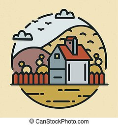 Trendy logotype with farmhouse or ranch house and hills covered with cultivated fields. Circular logo with rural scenery isolated on light background. Colorful vector illustration in linear style.