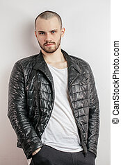 trendy look concept. funky , fashionable jacket for tough guys