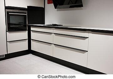 trendy, madeira, modernos, desenho, cozinha