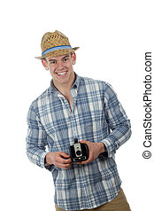 Trendy man with retro box camera