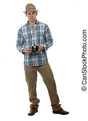 Trendy man with retro box camera