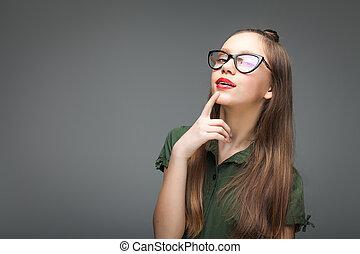 trendy, menina, óculos