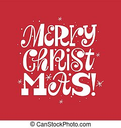 Trendy Merry Christmas fun doodle typography card