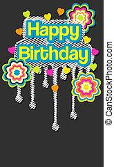 trendy, messaggio, compleanno, felice