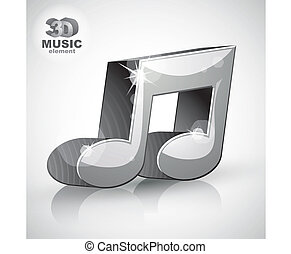 Trendy metallic musical note 3d modern style icon isolated.