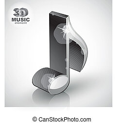 Trendy metallic slim musical note 3d modern style icon isolated.