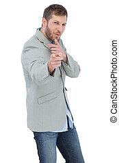 Trendy model posing wearing a blazer