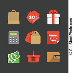 Trendy modern color shopping icons set