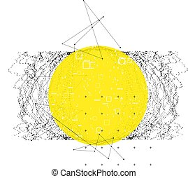 Trendy modern science or technology 3d background with dynamic particles. Cyberspace grid. Futuristic connection structure with yellow banner for chemistry and science concepts. Vector illustration