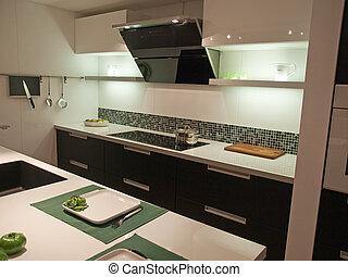 trendy, modernos, desenho, cozinha