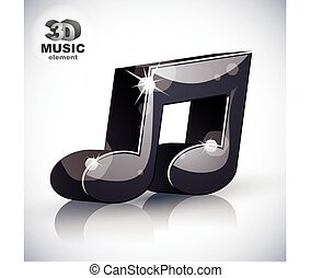 Trendy musical note 3d modern style icon isolated.