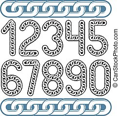 Trendy numbers collection, vector numeration. Made with steel chain link, joined link.