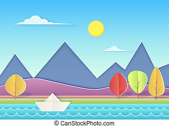 Trendy paper cuted landscape with mountains, hills, river, paper ship and trees. Summer landscape vector illustration.