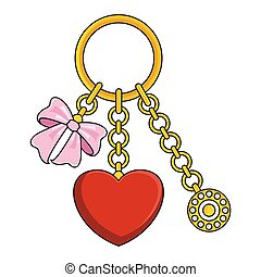 Trendy pendant with chains, heart and bow.